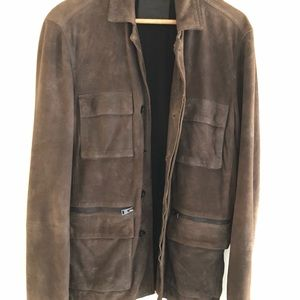 All Saints Men's suede leather  Brazer Coat sz M